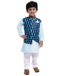 Bownbee Full Sleeves Kurta & Pyjama Set With Attached Ikat Waistcoat - White & Blue