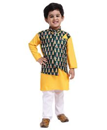 Bownbee Full Sleeves Kurta With Pyjama & Attached Ikat Waistcoat Set - Yellow & White