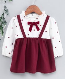 Kookie Kids Full Sleeves Frock Polka Dot Print - White Maroon