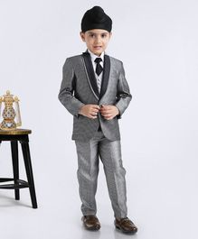 Rikidoos Solid Full Sleeves 4 Piece Party Suit - Grey