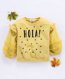 Kookie Kids Full Sleeves Tee Hola Print - Yellow