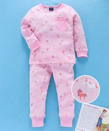 Mabaojd Full Sleeves Night Suit Unicorn Print - Light Pink