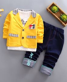 Pre Order - Awabox Tee With Attached Bow Tie & Checkered Full Sleeves Jacket & Pants - Yellow