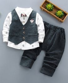 Pre Order - Awabox Moustache Printed Full Sleeves Tee With Attached Bow Tie & Waistcoat With Pants - Green