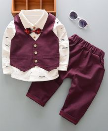 Pre Order - Awabox Moustache Printed Full Sleeves Tee With Attached Bow Tie & Waistcoat With Pants - Maroon