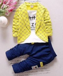 Pre Order - Awabox Text Printed Tee With Checkered Full Sleeves Jacket & Pants - Yellow