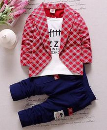 Pre Order - Awabox Text Printed Tee With Checkered Full Sleeves Jacket & Pants - Red