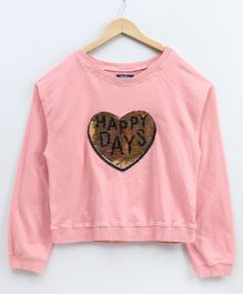 Natilene Heart Sequined Full Sleeves Sweatshirt - Pink