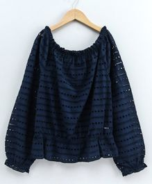 Natilene Solid Full Sleeves Scallop Top - Navy Blue