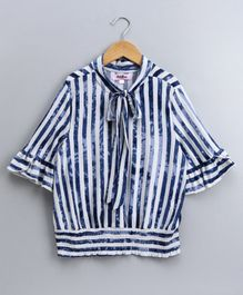 Natilene Three Fourth Sleeves Striped Top - Navy Blue
