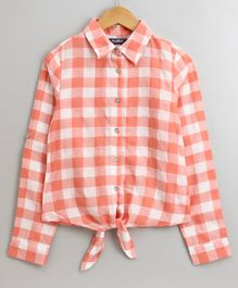 Natilene Full Sleeves Checked Front Knot Shirt - Orange