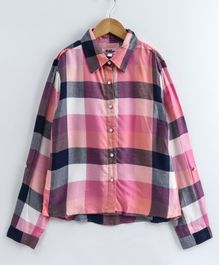Natilene Full Sleeves Checked Shirt - Pink