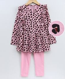 Curlous All Over Leopard Print Full Sleeves Frill Top With Bottoms - Light Pink