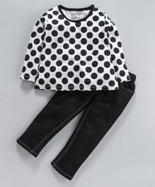 Curlous Polka Dot Print Full Sleeves Top With Bottoms - Black & White