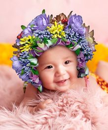 Babymoon Bonnet Cap New Born Baby Photography Shoot Props Costume - Purple