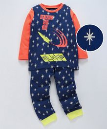 Ventra Star Printed Full Sleeves Night Suit - Navy Blue