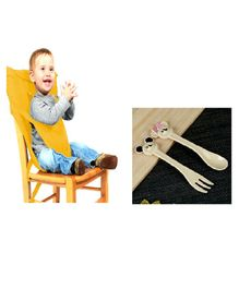Magic Seat Baby Safety Harness & Organic Cutlery Combo Set - Yellow & Brown