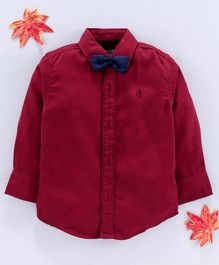 Gini & Jony Full Sleeves Shirt With Bow - Maroon