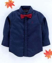 Gini & Jony Full Sleeves Shirt With Bow - Blue
