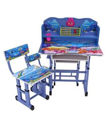 Study Table With Chair Alphabets & Girl Print - Blue