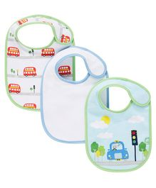 Mothercare Water Proof Bib Pack of 3 - Green Blue White