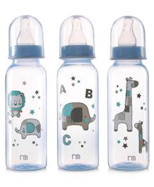Mothercare Feeding Bottle Animal Print Set of 3 Blue - 260 ml Each
