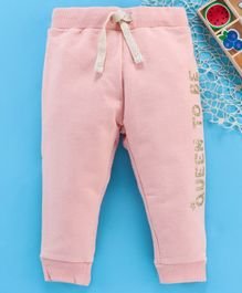 Fox Baby Full Length Lounge Pant With Drawstring Text Print - Pink