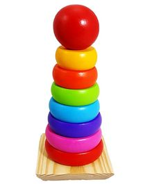 Yamama Wooden Rainbow Tower Stacking Ring  Educational Toys - Multicolour