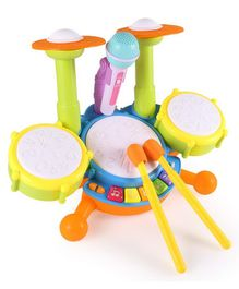 Yamama Musical Drum Set Toy with Microphone - Multicolour