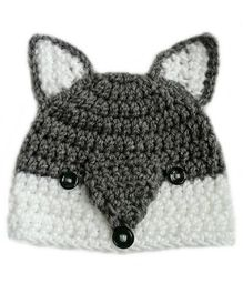 Love Crochet Art Cat Face Theme Crochet Cap - Grey