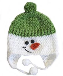Love Crochet Art Snowman Theme Crochet Cap - White & Green