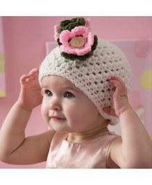 Love Crochet Art Flower Pattern Crochet Cap - White
