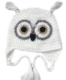 Love Crochet Art Snow Ow Theme Crochet Cap - White