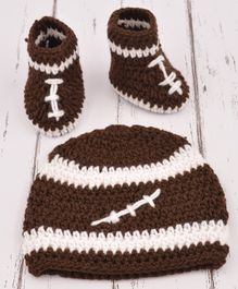 Love Crochet Art  Dual Shaded Cap With Booties - Brown