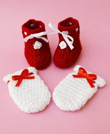 Love Crochet Art Rose Detailed Booties With Mittens - Red & White