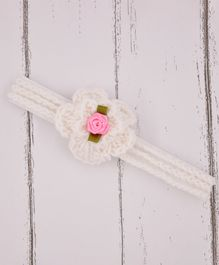 Love Crochet Art Flower Detailed Crochet Headband - White & Pink