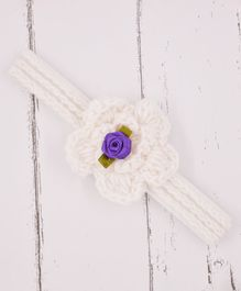 Love Crochet Art Flower Detailed Crochet Headband - White & Purple