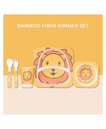 Polka Tots Bamboo Lion Theme Fiber Kids Crockery Dining Set - 5 Pieces