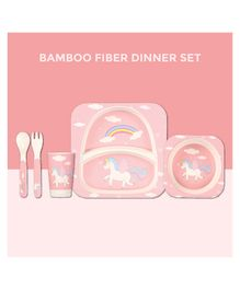 Polka Tots Bamboo Unicorn Theme Fiber Kids Crockery Dining Set - 5 Pieces