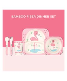 Polka Tots Bamboo Flamingo Theme Fiber Kids Crockery Dining Set - 5 Pieces