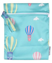 Polka Tots Waterproof Air Ballon Themed Wet Bag Pouch With Zipper - Blue
