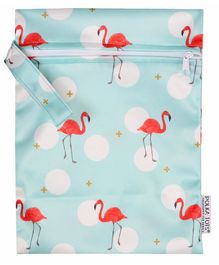 Polka Tots Waterproof Flamingo Themed Wet Bag Pouch With Zipper - Blue