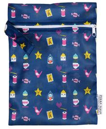 Polka Tots Waterproof Wet Bag Pouch With Zipper - Blue