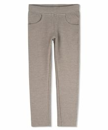 Cherry Crumble California Solid Full Length Jeggings - Grey