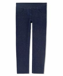 Cherry Crumble California Solid Full Length Jeggings - Navy Blue