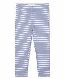 Cherry Crumble California Striped Full Length Elasticated Leggings - Blue