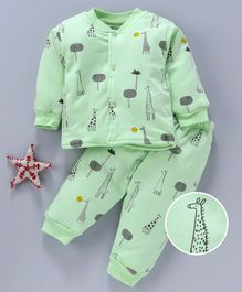 Doreme Full Sleeves Night Suit Giraffe Print - Green