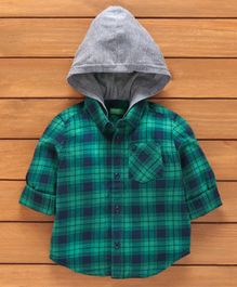 UCB Full Sleeves Checked Hooded Shirt - Green