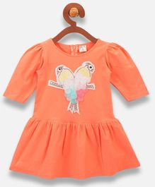 Lilpicks Couture Parrot Patch Half Sleeves Dress - Peach