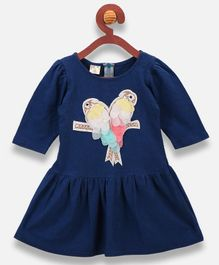 Lilpicks Couture Parrot Patch Half Sleeves Dress - Blue